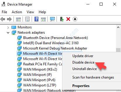 Schede di rete Adattatore virtuale Microsoft Wi Fi Direct Fare clic con il pulsante destro del mouse su Disabilita