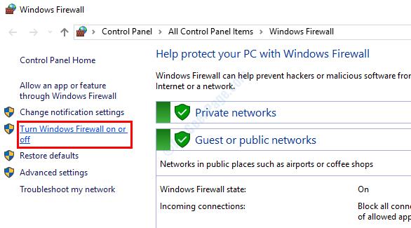 Avvio del firewall