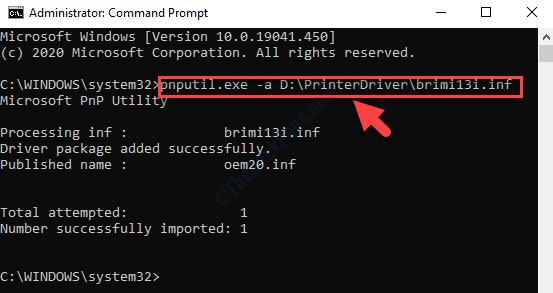 Prompt dei comandi Admin Esegui il comando per installare il pacchetto driver Invio