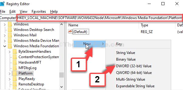 Editor del Registro di sistema Vai al percorso Lato destro Fare clic con il tasto destro nell'area vuota Nuovo valore Dwprd (32 bit)