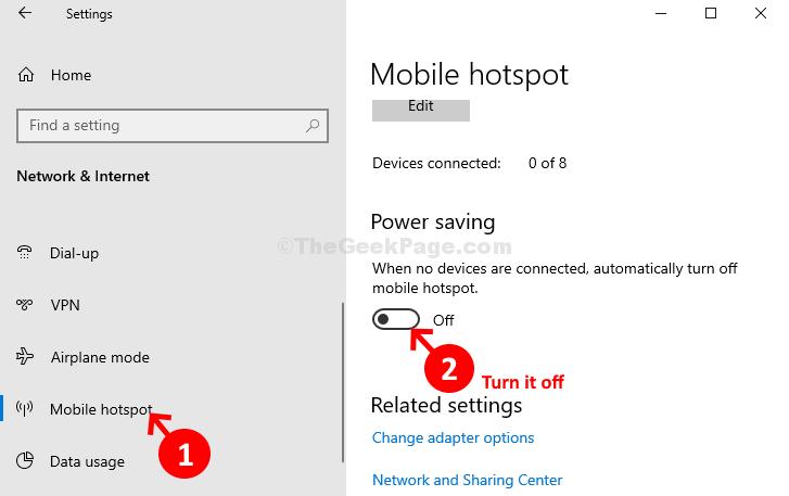 Rete e Internet Mobile Hotspot Risparmio energetico disabilitato
