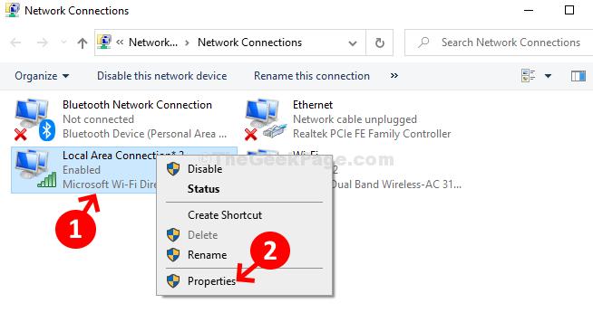 Connessione alla rete locale Fare clic con il pulsante destro del mouse su Proprietà