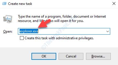 Crea nuovo Task Explorer.exe Invio