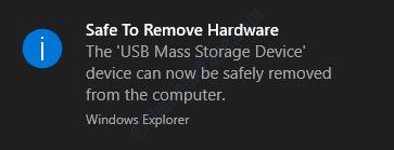 Messaggio di Windows sicuro per rimuovere l'hardware