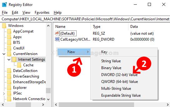 Editor del registro di sistema Vai al percorso Lato destro Fare clic con il tasto destro su Nuovo valore Dword (32 bit)