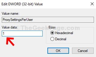 Modifica valore Dword (32 bit) Modifica i dati del valore in 1