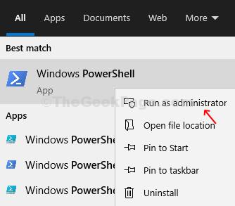 Icona di Powershell di Windows sul desktop Fare clic con il pulsante destro del mouse su Esegui come amministratore