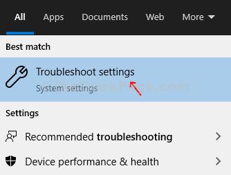 Icona di Windows Desktop Casella di ricerca Risoluzione dei problemi Risoluzione dei problemi Impostazioni