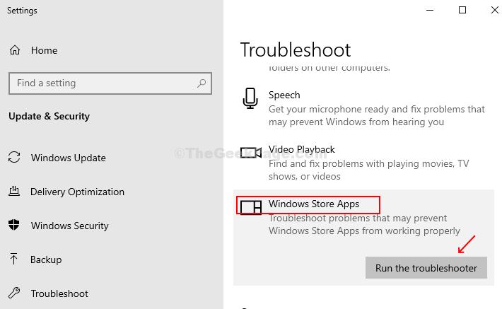 Impostazioni Risoluzione dei problemi delle app App di Windows Store Esegui lo strumento di risoluzione dei problemi