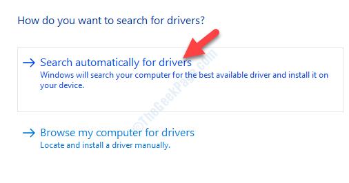 Aggiorna automaticamente la ricerca del driver per il software del driver aggiornato