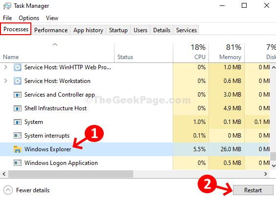 Task Manager elabora il riavvio di Windows Explorer
