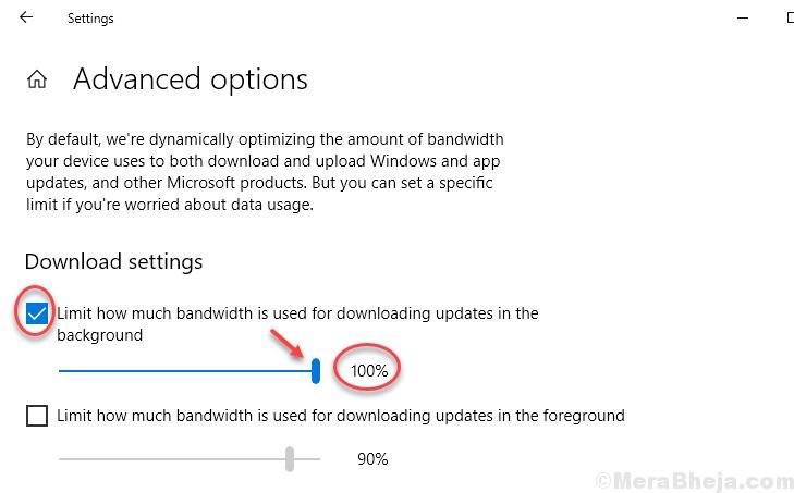 Limita la quantità di larghezza di banda utilizzata Scarica aggiornamenti Min.