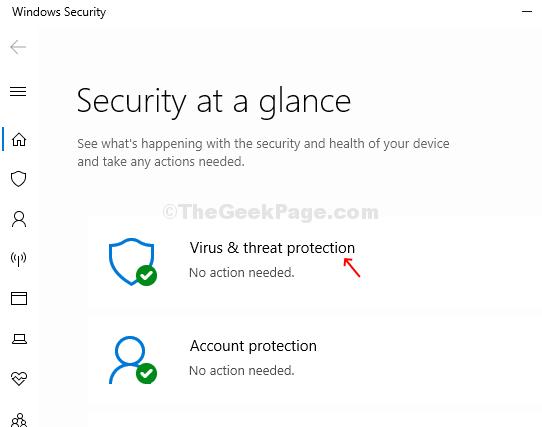 Protezione contro minacce e virus alla sicurezza di Windows