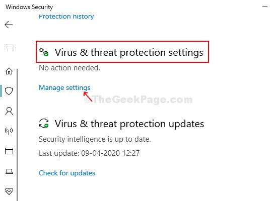 Finestra successiva Impostazioni di protezione da virus e minacce Gestisci le impostazioni
