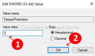 Modifica campo dati valore della finestra valore Dword (32 bit) 1