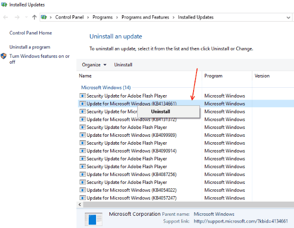 Disinstalla aggiornamenti La penna Wacom non funziona su Windows 10