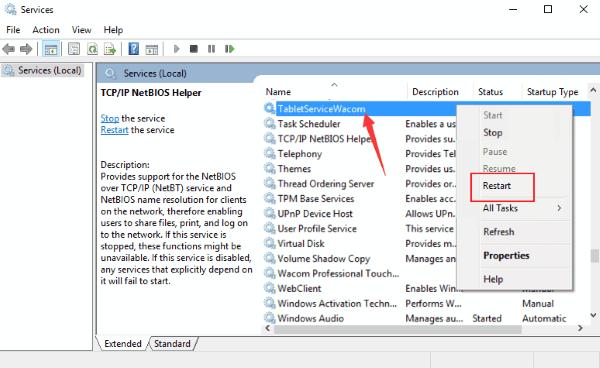 Riavvia i servizi La penna Wacom non funziona su Windows 10