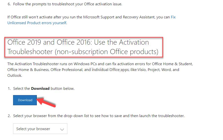Scorri verso il basso Seleziona la versione di Office che stai usando Scarica