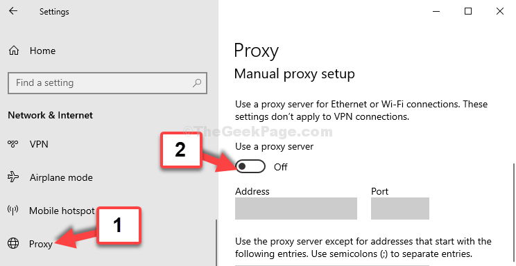 Proxy Configurazione manuale del proxy Usa Proxy Sserver Disable