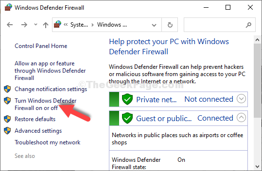 Fai clic su Attiva o disattiva il firewall di Windows Defender