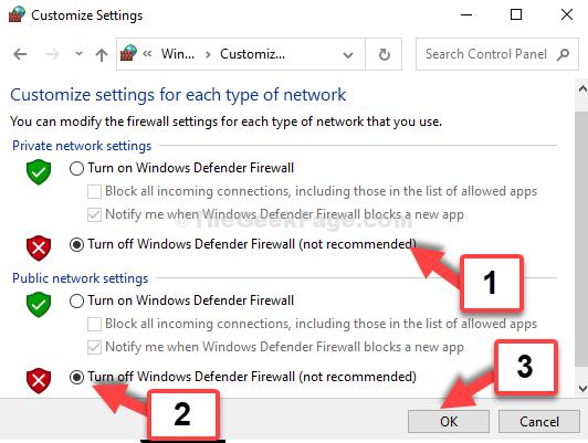 Impostazioni di rete privata Disabilita Windows Defender Firewall Impostazioni di rete pubblica Disabilita Windows Defender Firewall Ok