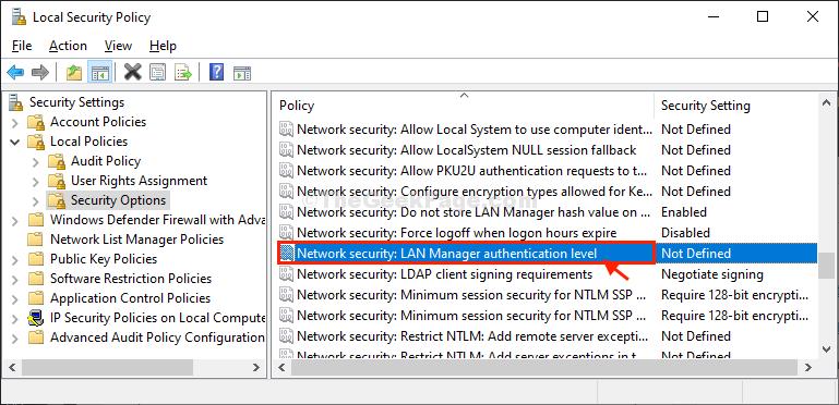 Fare doppio clic su sicurezza di rete