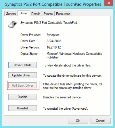 Lo scorrimento del touchpad per il rollback del driver non funziona