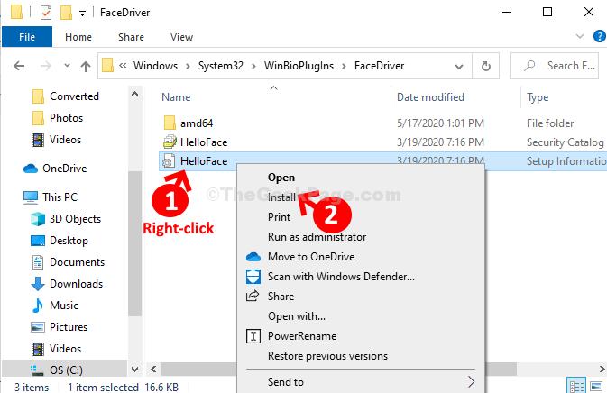 Helloface fare clic con il pulsante destro del mouse su Installa
