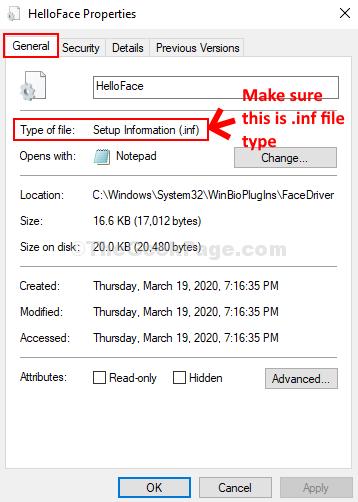 Proprietà Helloface Tipo di file inf generale