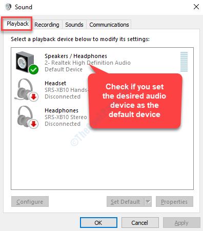 Scheda Riproduzione audio Controlla se il dispositivo audio è impostato come predefinito