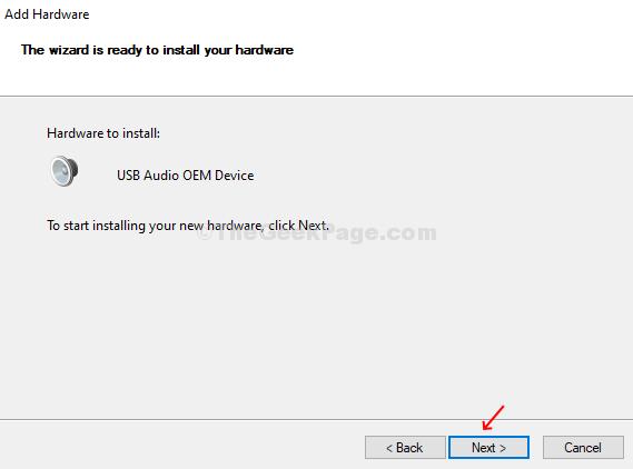 Aggiungi hardware Inizia l'installazione del nuovo hardware Avanti