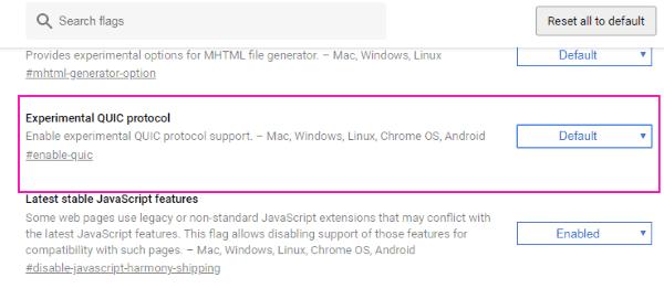 Quik sperimentale Questo sito non può essere raggiunto Errore di Chrome