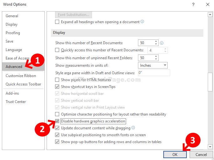 Opzioni di Word Verifica schermo avanzata Disabilita accelerazione grafica hardware Ok