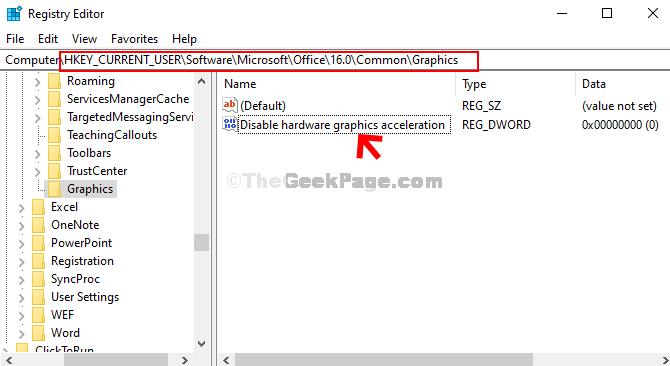 Accedere al percorso in base alla versione di Office Fare doppio clic sul valore Dword (32 bit)