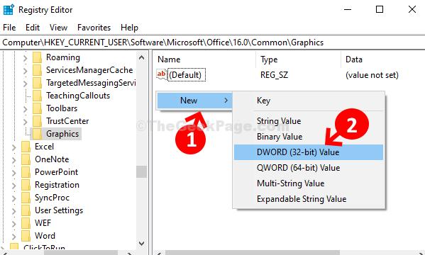 Spazio vuoto sul lato destro Fare clic con il pulsante destro del mouse su Nuovo valore Dword (32 bit)