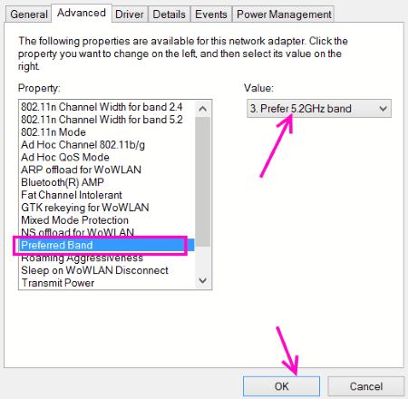Banda preferita 5 ghz Wifi non visualizzato Windows 10