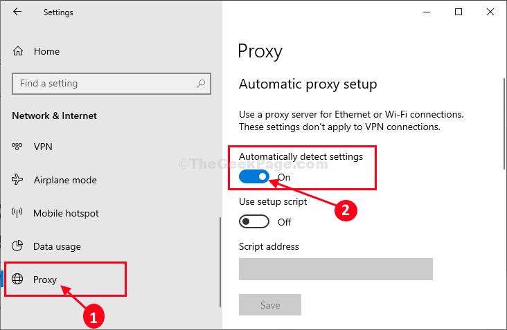 Rilevamento automatico della finestra delle impostazioni del server proxy