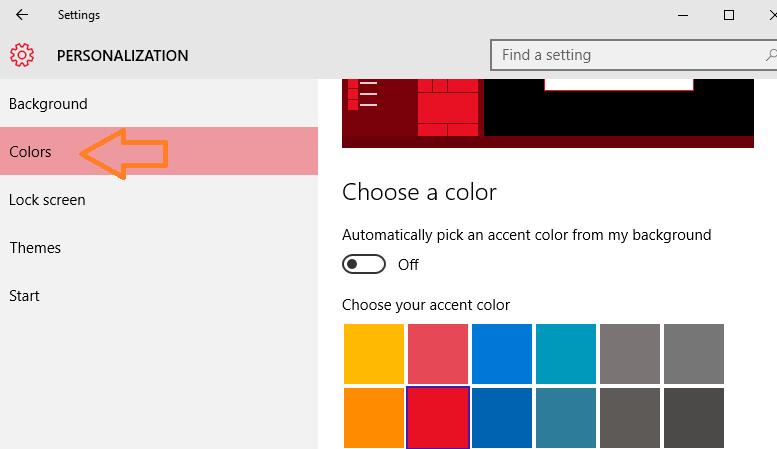 scegli il colore accento
