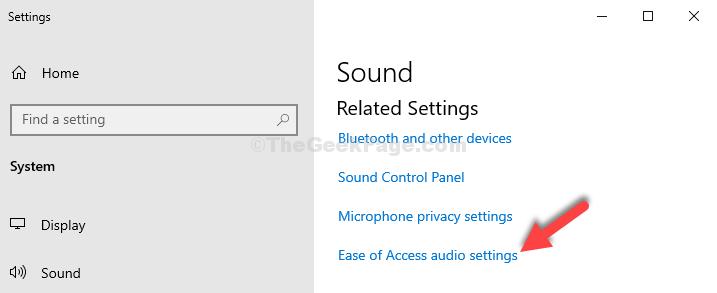 Impostazioni Impostazioni correlate sul lato destro Facilità di accesso Impostazioni audio