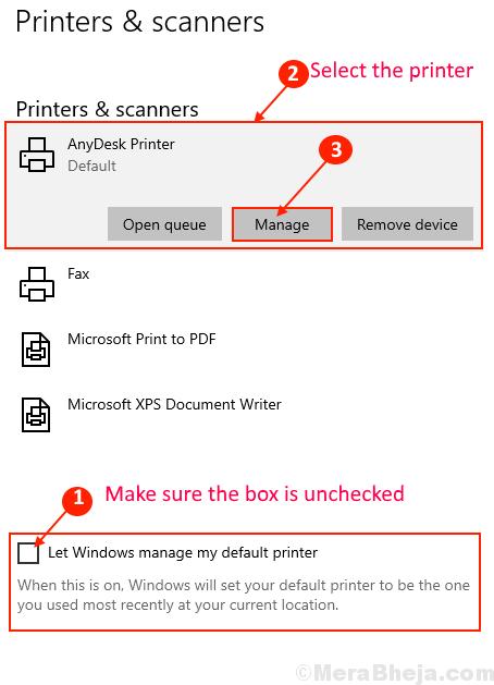 Stampante e scanner predefiniti