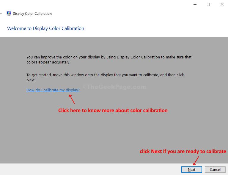 Calibrazione del colore dello schermo Come si calibra lo schermo?  Oppure fare clic su Avanti