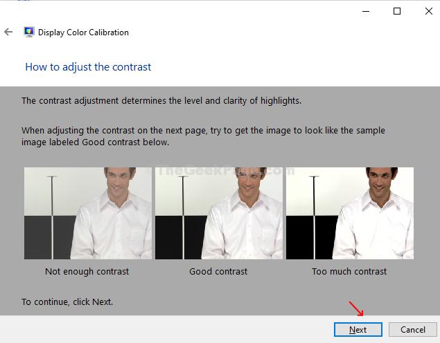 Regolare l'esempio di controllo del contrasto Avanti
