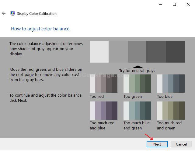 Regolare le istruzioni di bilanciamento del colore Avanti
