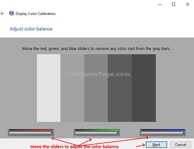 Regola il bilanciamento del colore Sposta i cursori Avanti