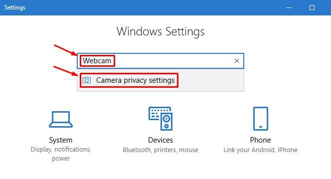 Apri le impostazioni sulla privacy della fotocamera