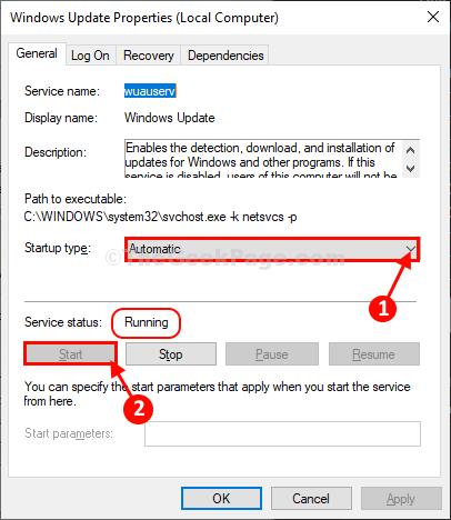 Avvia il servizio di aggiornamento di Windows