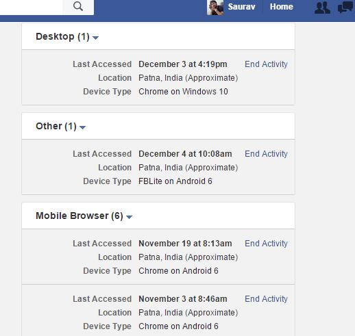 Facebook-attività-login