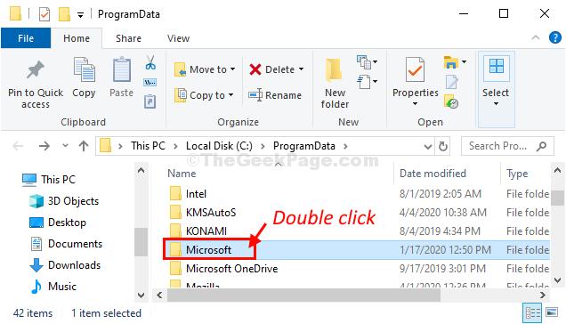 Fare doppio clic sui dati del programma