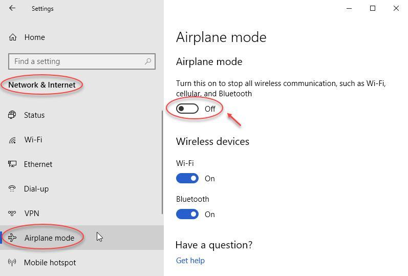 Impostazioni della modalità aereo