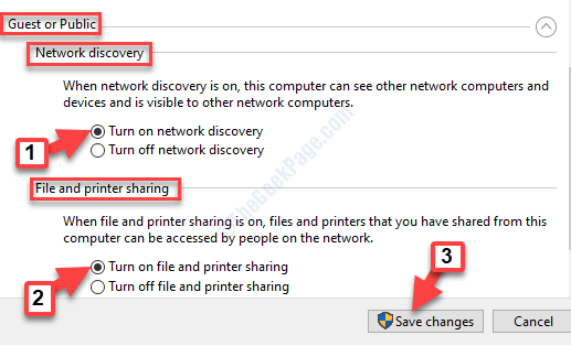 Impostazioni di condivisione avanzate Gues o Public Enable Abilita rilevamento rete Abilita condivisione file e stampanti